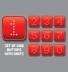 set of stylized buttons with different digit vector image