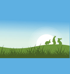 silhouette of bunny on the hill vector image vector image