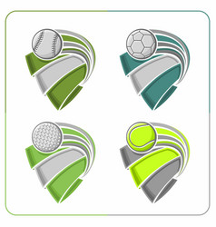 Sports balls ribbons vector