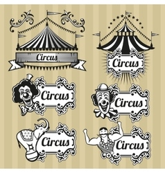 Vintage circus emblems logos labels set vector image