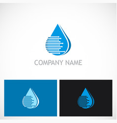 water drop line technology logo vector image