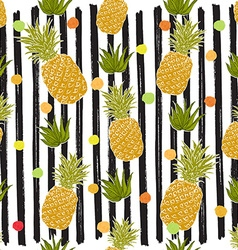 Pineapple hand drawn sketch striped seamless vector