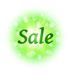 Sale banner with green glittering elements vector