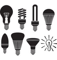 Led Lightbulb Icon Set vector image