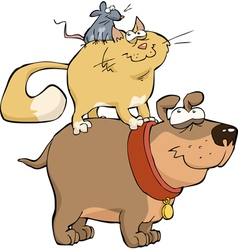 dog cat and mouse vector image