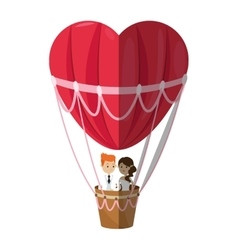 Isolated hot air balloon and heart design vector