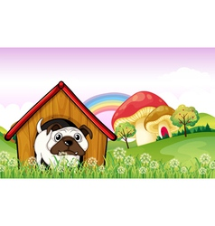 A bulldog in the doghouse near the giant mushrooms vector