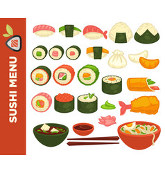 Sushi rolls and japanese cuisine icons for vector