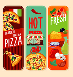 hot italian pizza vertical banners vector image