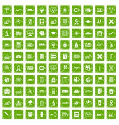 100 globe icons set grunge green vector