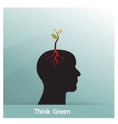 Tree of green idea shoot grow on human symbol vector