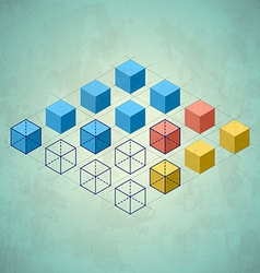 Infographics with cubes diamond shaped plane vector