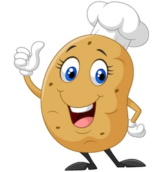 Cartoon potato giving thumb up vector
