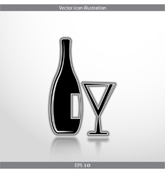 Glass bottle web icon vector