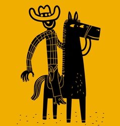 Cowboy and horse vector