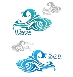Blue and teal ocean waves icons vector
