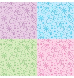 Christmas hand drawn seamless patterns vector