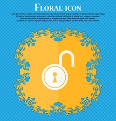 Open lock icon floral flat design on a blue vector