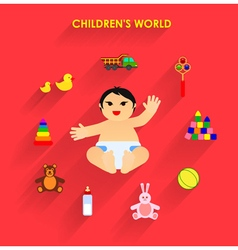 Funny little baby with toys flat icons vector
