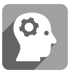 Intellect mechanism flat square icon with long vector