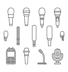 Microphones outline icons vector