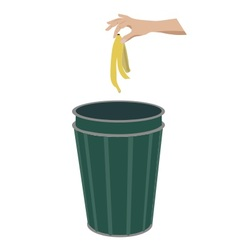 Banana skin in litter bin vector