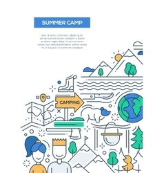 Camping hiking line nesign composition vector