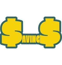 Savings word outline with s letter as dollar vector