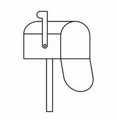 Open mailbox icon outline style vector