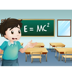A boy in the classroom vector image vector image