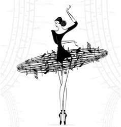 Abstract ballet lady music vector