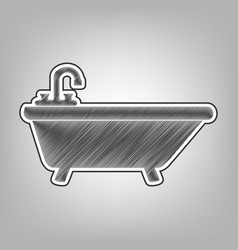 Bathtub sign pencil sketch vector