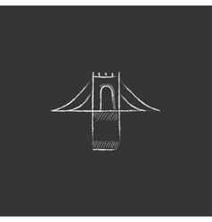 Bridge drawn in chalk icon vector