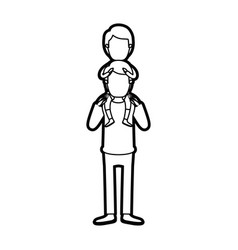 caricature thick contour faceless young father vector image vector image