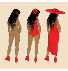Collection of different woman silhouettes vector image