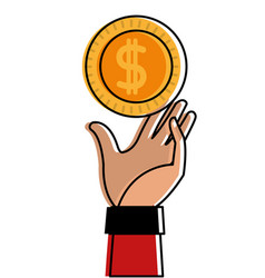 Color coin with peso symbol and hand up vector
