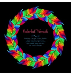 Colorful wreath of rainbow feathers vector