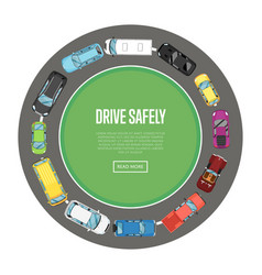 Drive safely poster in flat style vector