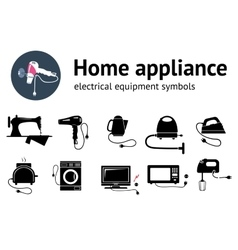 Electrical appliance with plug equipment icon set vector image vector image