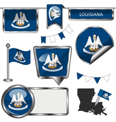 Glossy icons with Louisianian flag vector image vector image
