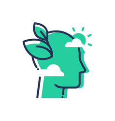 Green mind - modern single line icon vector