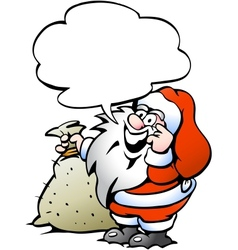 Hand-drawn of an Happy Santa with a sack vector image vector image