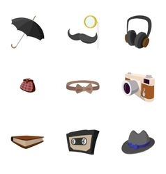 Hipster people icons set flat style vector