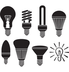 Led lightbulb icon set vector