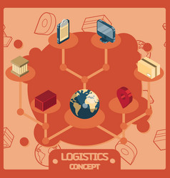 Logistics color isometric concept icons vector