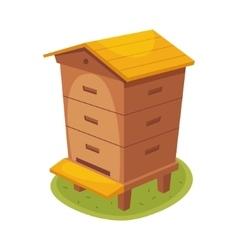 Manmade wooden farm beehive cartoon vector