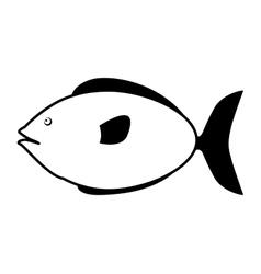 Monochrome silhouette with small sea fish vector