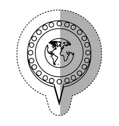 monochrome sticker with world map and circular vector image