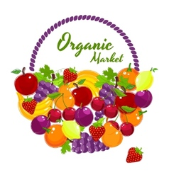 Organic Market colorful poster design vector image vector image