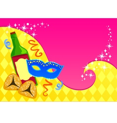 Purim card template vector image vector image